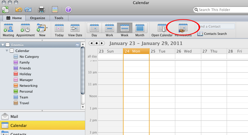 how do i share a calendar using outlook 2011 for mac os x