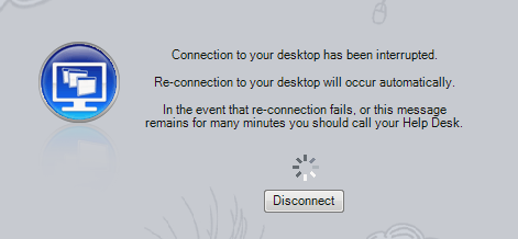 Connection to your desktop has been interrupted
